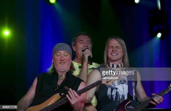 Bassist Roger Glover singer Ian Gillan and guitarist Steve Morse and of the English rock band 'Deep Purple' perform live during a concert at the...