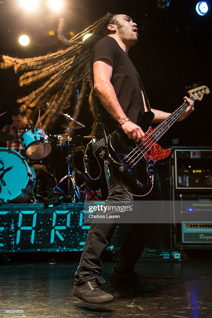 Bassist Ryan Collier of 10 Years performs at Key Club on March 5, 2013 in West Hollywood, California.