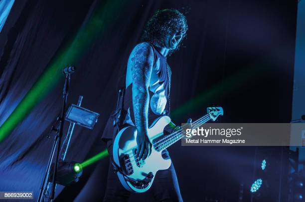 Bassist Sam Bettley of English metalcore group Asking Alexandria performing live on stage at the O2 Academy Brixton in London on April 8 2017