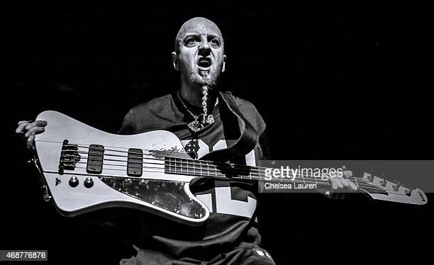 Bassist Shavo Odadjian of System of a Down performs commemorating the 100th anniversary of the Armenian genocide at The Forum on April 6 2015 in...