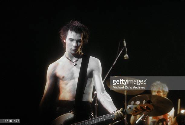 Bassist Sid Vicious of the punk band 'The Sex Pistols' perform their last concert in Winterland on January 14 1978 in San Francisco California