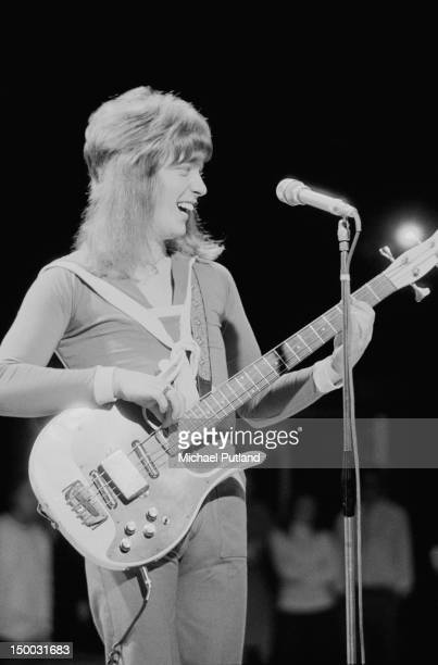 Bassist Steve Priest performing with British glam rock group Sweet on the BBC TV show 'Top Of The Pops' London 23rd February 1972