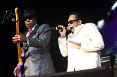 Bassist Terry Lewis and singer Morris Day of Morris Day the Time perform at PNC Music Pavilion on July 22 2016 in Charlotte North Carolina