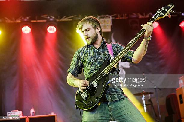 Bassist Tim Ward of American hard rock group The Fall Of Troy performing live on stage at ArcTanGent Festival in Somerset on August 21 2015