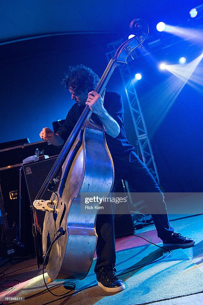 Bassist Timo Shanko of G. Love & Special Sauce performs in concert at Stubb's Bar-B-Q on February 9, 2013 in Austin, Texas.