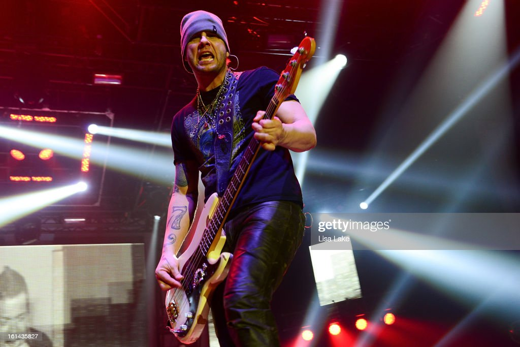 Bassist Todd Harrell of 3 Doors Down performs in concert at Sands Event Center on February 10, 2013 in Bethlehem, Pennsylvania.