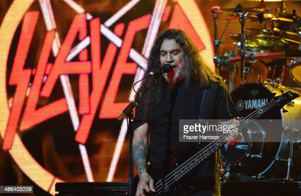 Bassist Tom Araya of Slayer performs at the 6th Annual Revolver Golden Gods Award Show at Club Nokia on April 23 2014 in Los Angeles California