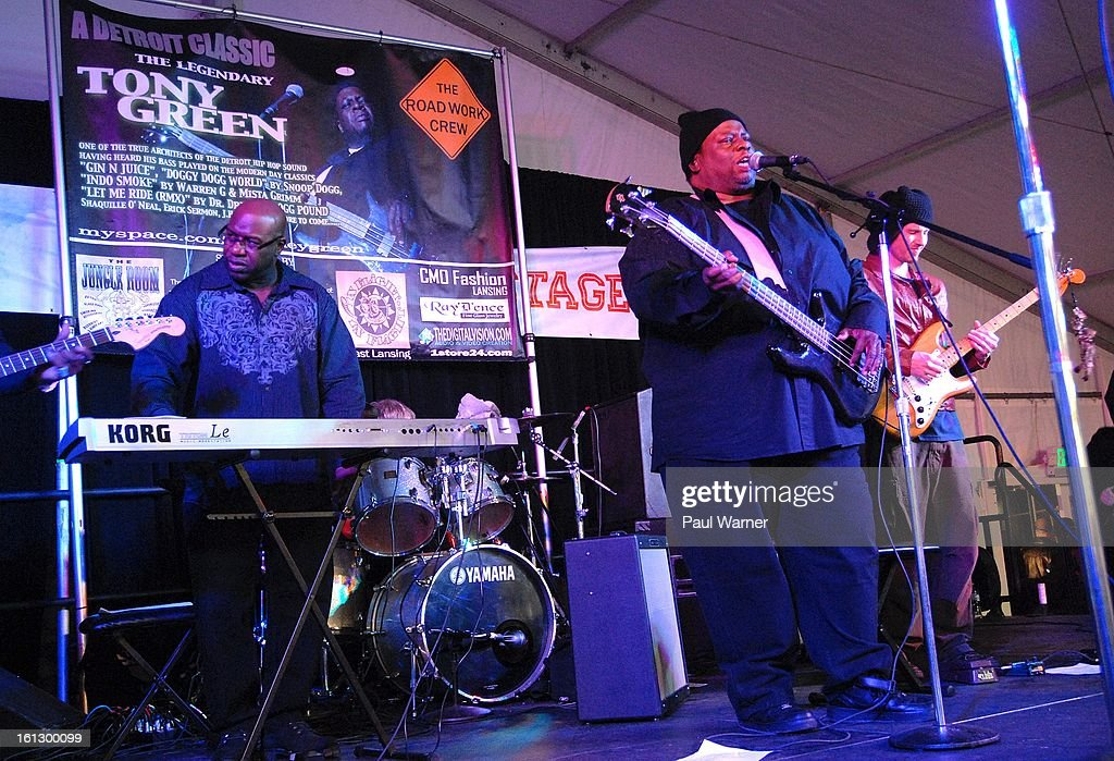 Bassist Tony Green, who has played on records by Snoop Lion and Warren G, performs at Motown Winter Blast at Campus Martius Park on February 9, 2013 in Detroit, Michigan.