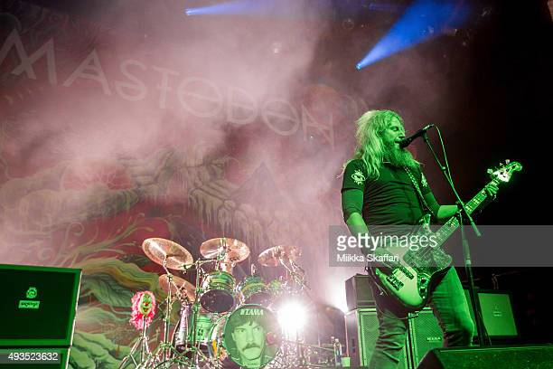 Bassist Troy Sanders of Mastodon performs at The Warfield Theater on October 20 2015 in San Francisco California