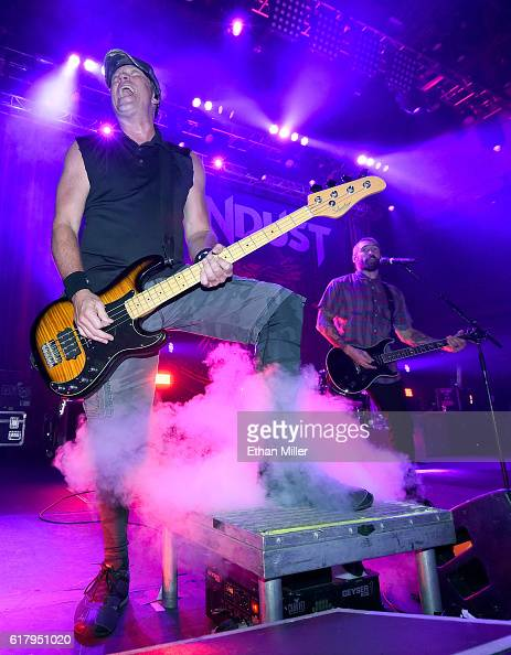 Bassist Vince Hornsby and guitarist Clint Lowery of Sevendust perform during a stop of the band's Kill the Flaw tour at Brooklyn Bowl Las Vegas at...