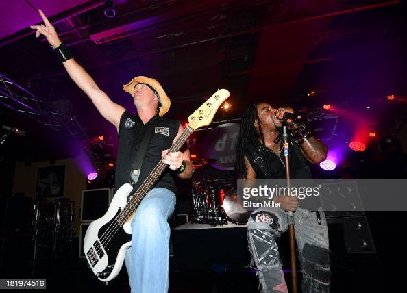 Bassist Vince Hornsby and singer Lajon Witherspoon of Sevendust perform at Hard Rock Live Las Vegas as the band tours in support of the album 'Black...