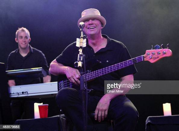 Bassist Vince Hornsby of Sevendust and touring keyboardist Kurt Wubbenhorst perform during an acoustic concert at the Marquee Theatre as the band...