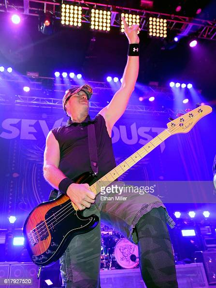 Bassist Vince Hornsby of Sevendust performs during a stop of the band's Kill the Flaw tour at Brooklyn Bowl Las Vegas at The Linq Promenade on...