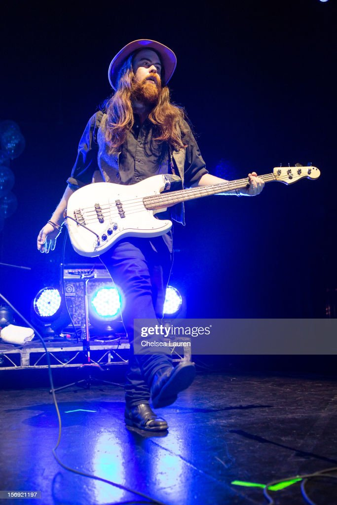Bassist / vocalist Sean Gadd of Grouplove performs at Gibson Amphitheatre on November 24, 2012 in Universal City, California.