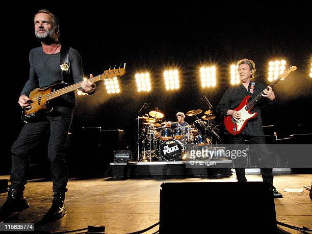 Bassist/Vocalist Sting Drummer Stewart Copeland and Guitarist Andy Summers of The Police perform at The Sleep Train Pavilion on July 16 2008 in...