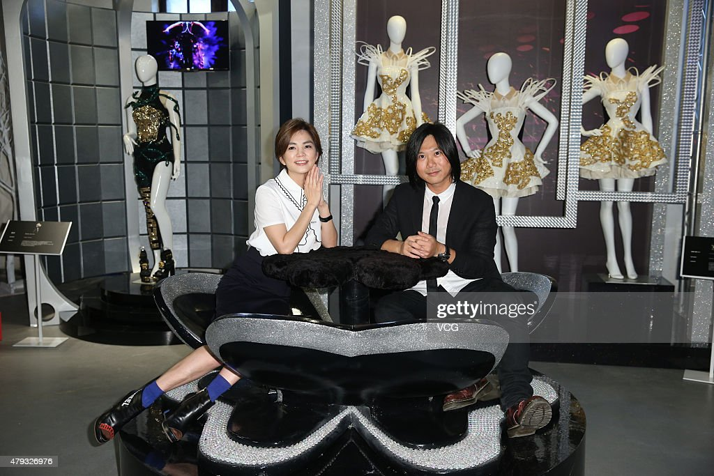 Bassit Matthew Tsai of 'May Day' band and singer Ella of S.H.E attend press conference for the opening event of a welcoming records exhibition on July 3, 2015 in Taipei, Taiwan of China.