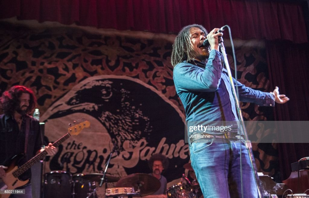 Bassit Sven Pipien (L) and singer John Hogg of The Magpie Salute perform at Neighborhood Theatre on August 15, 2017 in Charlotte, North Carolina.