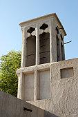 A windtower in the old merchant quarter of Bastakiya in Dubai, United Arab Emirates.