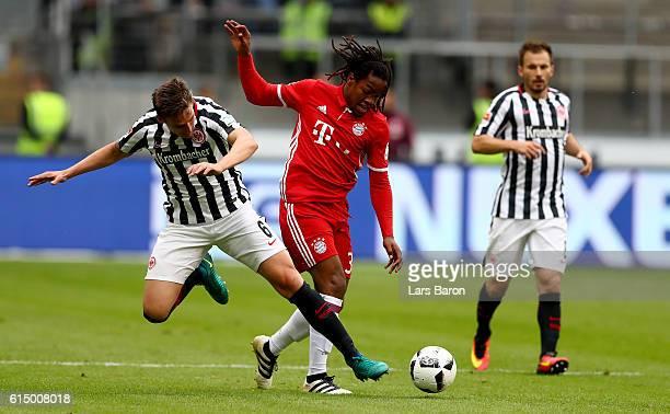 Bastian Oczipka of Eintracht Frankfurt challenges Renato Sanches of Muenchen during the Bundesliga match between Eintracht Frankfurt and Bayern...