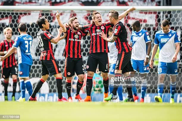 Bastian Oczipka of Frankfurt celebrates his team's first goal with his team mates during the Bundesliga match between Eintracht Frankfurt and 1899...