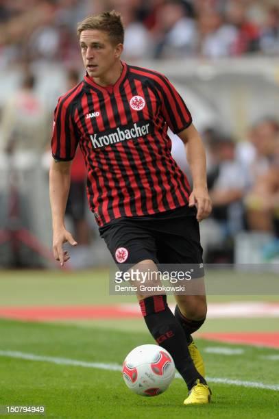 Bastian Oczipka of Frankfurt controls the ball during the Bundesliga match between Eintracht Frankfurt and Bayer 04 Leverkusen at CommerzbankArena on...