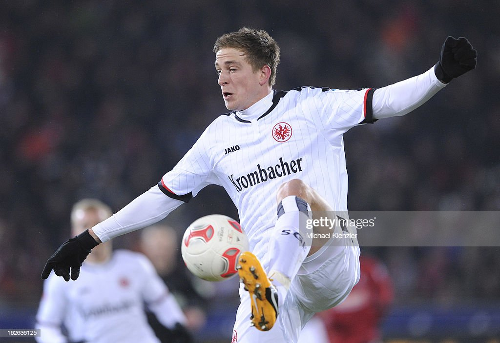 Bastian Oczipka of Frankfurt controls the ball during the Bundesliga match between SC Freiburg and Eintracht Frankfurt at MAGE SOLAR Stadium on February 22, 2013 in Freiburg, Germany.
