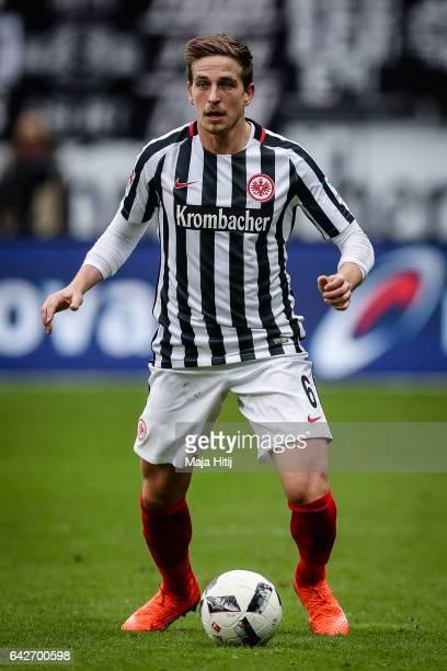 Bastian Oczipka of Frankfurt controls the ball during the Bundesliga match between Eintracht Frankfurt and FC Ingolstadt 04 at CommerzbankArena on...