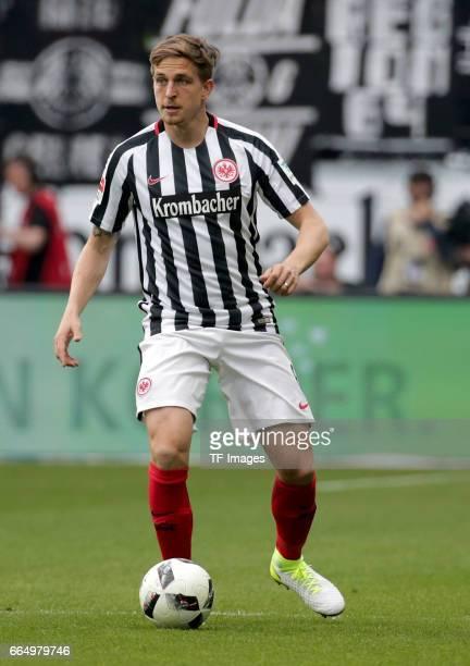 Bastian Oczipka of Frankfurt controls the ball during the Bundesliga Match between Eintracht Frankfurt and Borussia Moenchengladbach at Commerzbank...