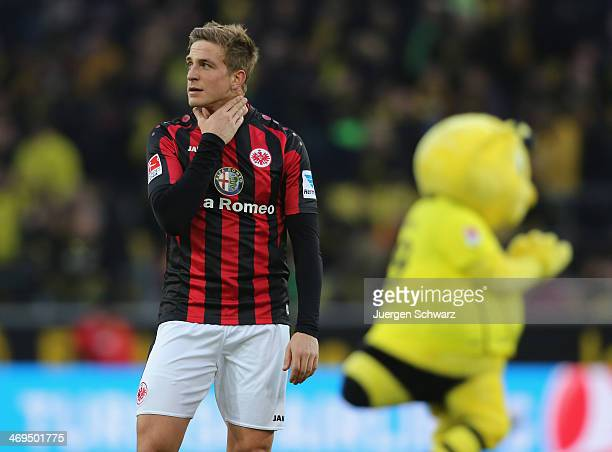 Bastian Oczipka of Frankfurt reacts after the Bundesliga match between Borussia Dortmund and Eintracht Frankfurt at Signal Iduna Park on February 15...