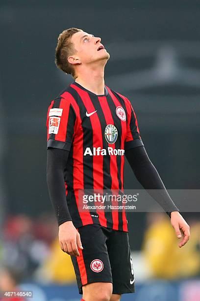 Bastian Oczipka of Frankfurt reacts after the Bundesliga match between VfB Stuttgart and Eintracht Frankfurt at MercedesBenz Arena on March 21 2015...