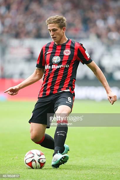Bastian Oczipka of Frankfurt runs with the ball during the Bundesliga match between Eintracht Frankfurt and VfB Stuttgart at CommerzbankArena on...