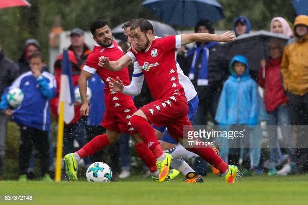 Bastian Oczipka of Schalke battle for the ball during the preseason friendly match between FC Schalke 04 and Neftchi Baku on July 26 2017 in...