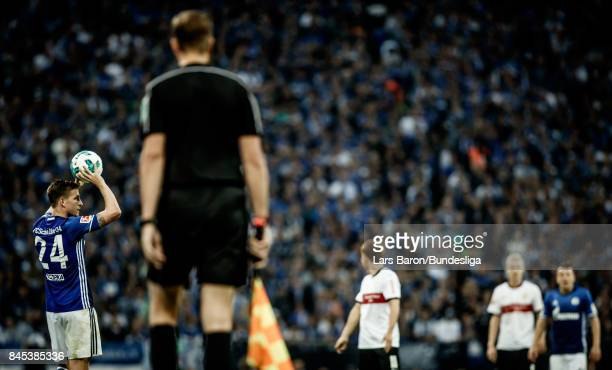 Bastian Oczipka of Schalke is seen during the Bundesliga match between FC Schalke 04 and VfB Stuttgart at VeltinsArena on September 10 2017 in...