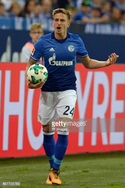 Bastian Oczipka of Schalke looks on during the Bundesliga match between FC Schalke 04 and Bayer 04 Leverkusen at VeltinsArena on September 29 2017 in...