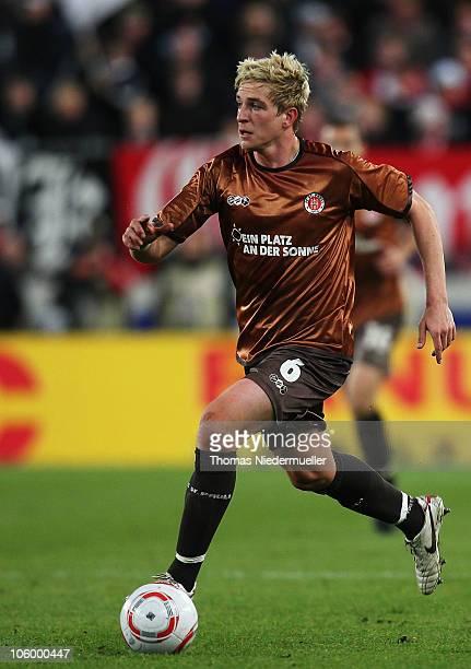 Bastian Oczipka of St Pauli runs with the ball during the Bundesliga match between VfB Stuttgart and FC St Pauli at MercedesBenz Arena on October 24...