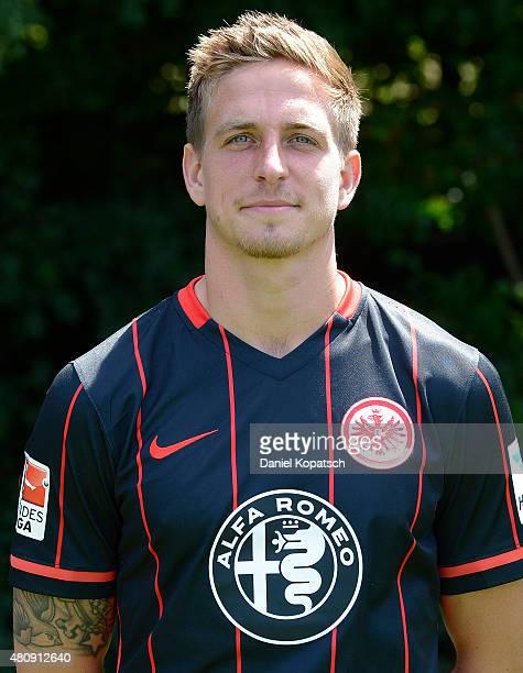 Bastian Oczipka poses during the Eintracht Frankfurt team presentation on July 15 2015 in Frankfurt am Main Germany