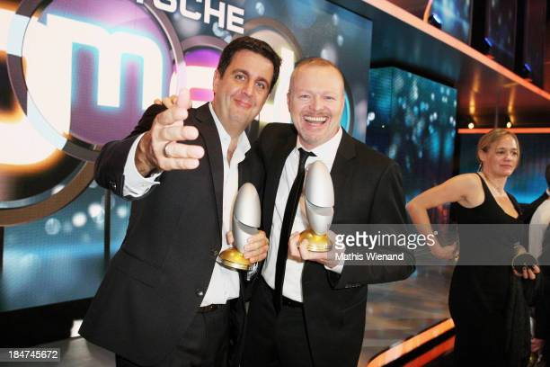 Bastian Pastewka and Stefan Raab attend the 17th Annual of the German Comedy Awards at Coloneum on October 15 2013 in Cologne Germany