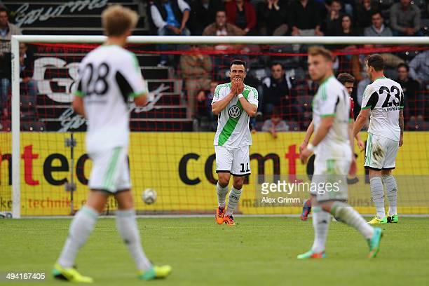 Bastian Schulz of Wolfsburg reacts during the Third Bundesliga Playoff first leg match between SG Sonnenhof Grossaspach and VfL Wolfsburg II at...