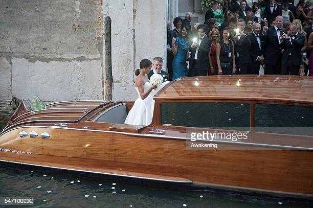 Bastian Schweinsteiger and Ana Ivanovic leave the church after their wedding on July 13 2016 in Venice Italy
