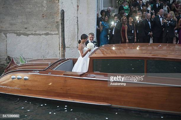 Bastian Schweinsteiger and Ana Ivanovic leave the church by boat after their wedding on July 13 2016 in Venice Italy