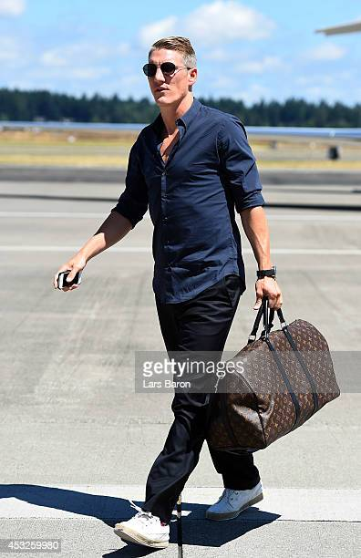 Bastian Schweinsteiger arrives at the airport during day eight of the Bayern Muenchen Audi Summer Tour USA 2014 on August 6 2014 in Portland United...