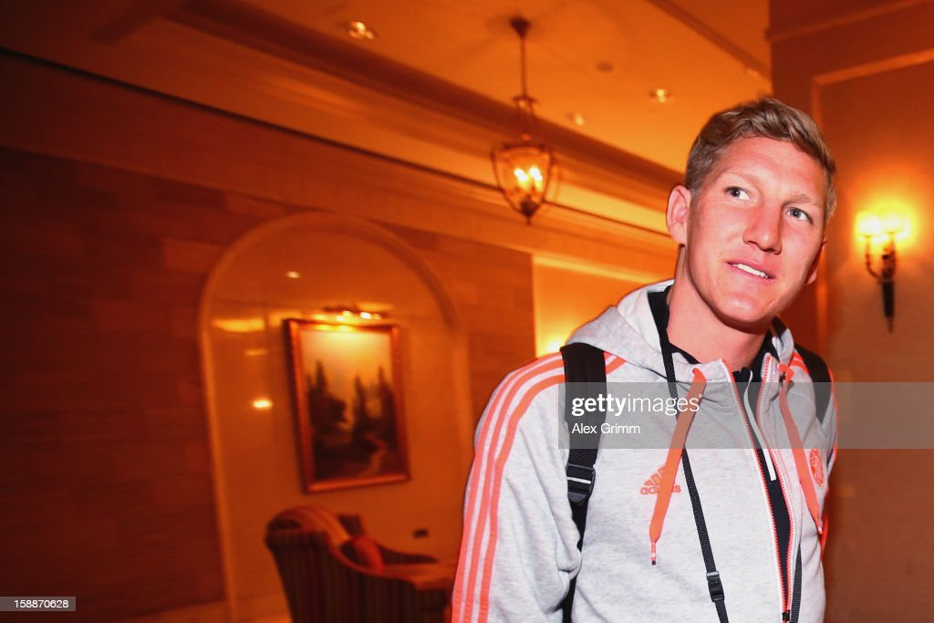 <a gi-track='captionPersonalityLinkClicked' href=/galleries/search?phrase=Bastian+Schweinsteiger&family=editorial&specificpeople=203122 ng-click='$event.stopPropagation()'>Bastian Schweinsteiger</a> arrives at the Grand Heritage Hotel on day 1 of the Bayern Muenchen training camp on January 2, 2013 in Doha, Qatar.