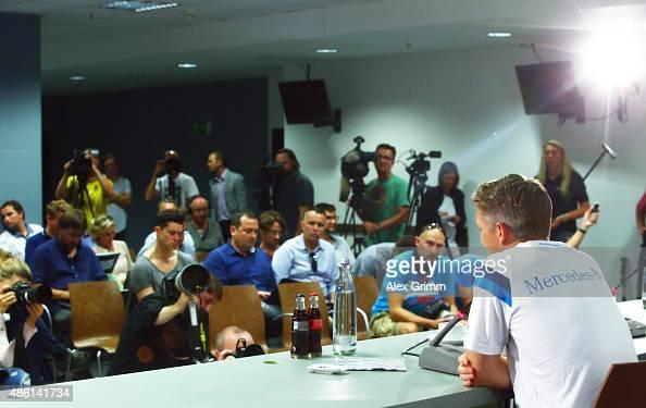 Bastian Schweinsteiger attends a Germany press conference at CommerzbankArena on September 1 2015 in Frankfurt am Main Germany