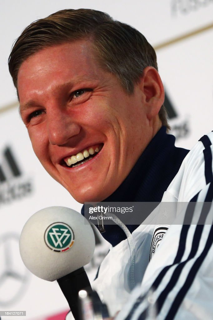<a gi-track='captionPersonalityLinkClicked' href=/galleries/search?phrase=Bastian+Schweinsteiger&family=editorial&specificpeople=203122 ng-click='$event.stopPropagation()'>Bastian Schweinsteiger</a> attends a Germany press conference at the DFB headquarters on March 20, 2013 in Frankfurt am Main, Germany.