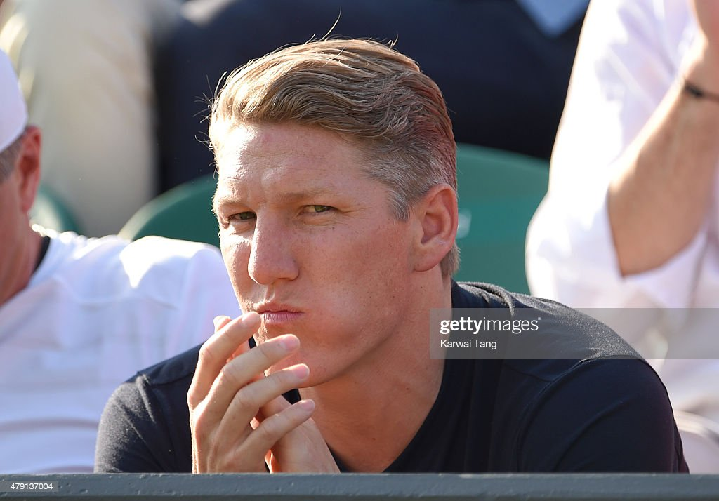 <a gi-track='captionPersonalityLinkClicked' href=/galleries/search?phrase=Bastian+Schweinsteiger&family=editorial&specificpeople=203122 ng-click='$event.stopPropagation()'>Bastian Schweinsteiger</a> attends the Ana Ivanovic v Bethanie Mattek-Sands match on day three of the Wimbledon Tennis Championships at Wimbledon on July 1, 2015 in London, England.