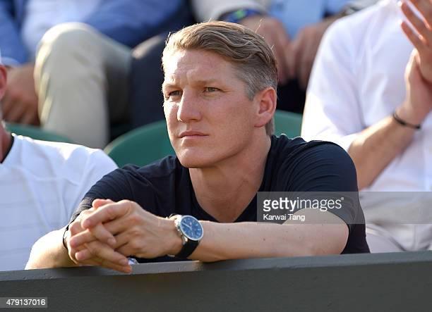 Bastian Schweinsteiger attends the Ana Ivanovic v Bethanie MattekSands match on day three of the Wimbledon Tennis Championships at Wimbledon on July...