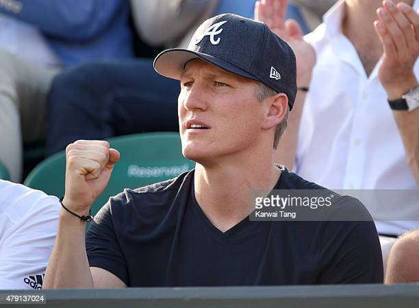 Bastian Schweinsteiger attends the Ana Ivanovic v Bethanie MattekSands match on day three of the Wimbledon Tennis Championships at Wimbledon on July...