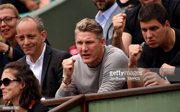 Bastian Schweinsteiger boyfriend of Ana Ivanovic watches her Women's QuaterFinal match against Elina Svitolina on day ten of the French Open at...