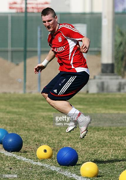 Bastian Schweinsteiger jumps during a Bayern Munich training camp on January 6 2007 in Dubai United Arab Emirates