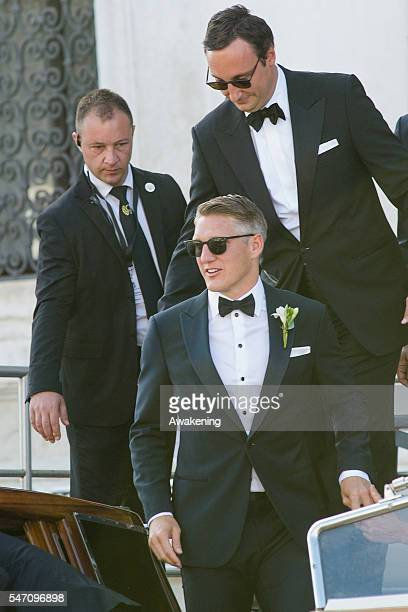Bastian Schweinsteiger leaves the Aman Grand Canal Hotel to reach the church for the wedding to Ana Ivanovic on July 13 2016 in Venice Italy